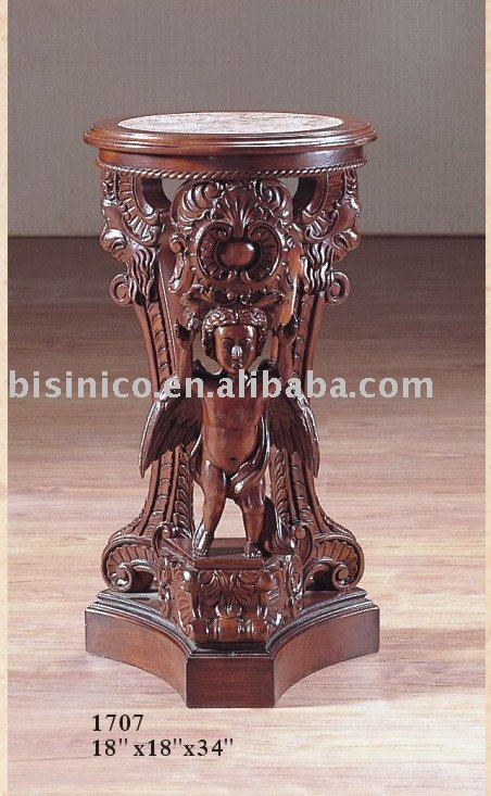 Solid wood hand carving antique end table with marble top for Antique marble coffee table and end tables