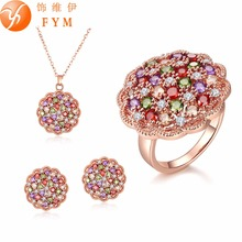 New Fashion Colorful CZ Diamond Jewelry Sets Rose Gold Plated Crystal Necklace/Earrings/Rings Bridal Wedding Jewelry Sets(China (Mainland))
