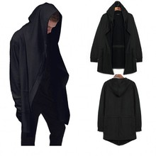 Europe&america Style New Hoody Sweatshirts Cloak Long Sleeves Men Shawl Outwear Streetwear Style Hoody Men's Plus Long Hoodies