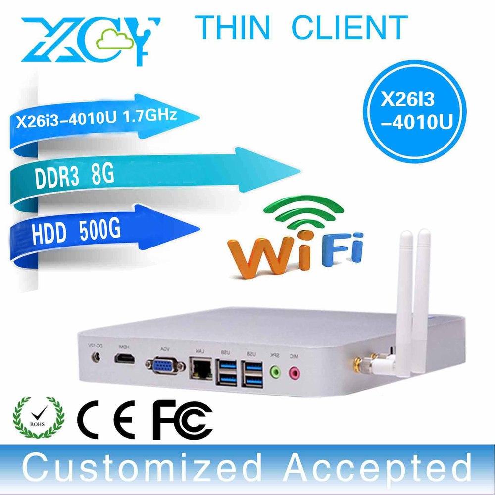 industrial station, slim computer, win 7 Mini pc linux wifi mini linux server X26-i3 4010u 8gb ram 500gb hdd(China (Mainland))