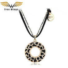 Free Wings Bohemian Jewelry Women Long Black Hollow Zebra Circle Necklaces Pendants for love bijoux Vintage accessories 10D(China (Mainland))