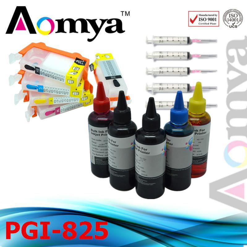 Refill Dye Ink PGI-825 100ml* 5C  and Cartridge For Canon IP4880 IP4980 MG8180 MG8280 MG6180 MG6280 MG5280 MG5380 MG5180 <br><br>Aliexpress