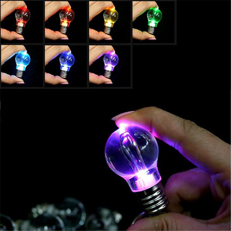 Mini Portable Battery Powered Automatically Changing Color RGB LED Flashlight Light Bulb Lamp Bright Key Ring Keychain Gift(China (Mainland))