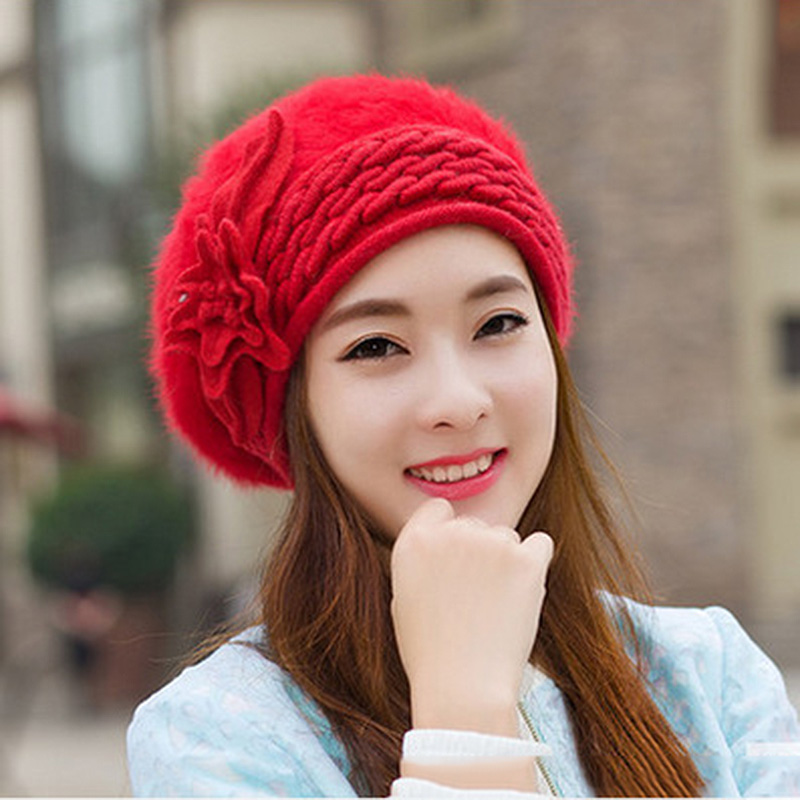 2016 New Winter Hat For Women Colours 9kinds of color Angora Hats Women Knitted Beret Winter Hat MZ015Одежда и ак�е��уары<br><br><br>Aliexpress