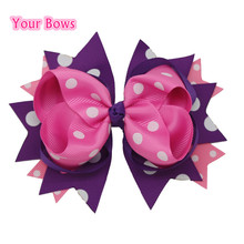 Buy 1PC 5.5Inches Big Stacked Boutique Hair Bows Hair Clips Purple Pink Polka Dot Bows Hairpin Girl Cute Kids Hair Accessories for $1.43 in AliExpress store