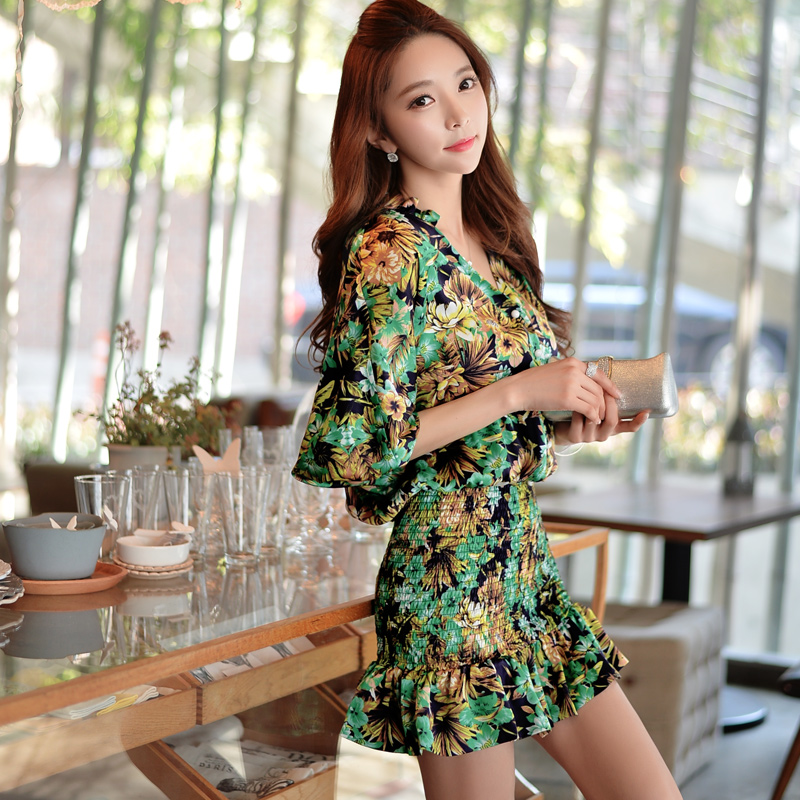 Original Brand Vestido Spring and Autumn Plus Size Slim Casual Dark Green Printed Floral Mini Chiffon Dresses Women Wholesale(China (Mainland))