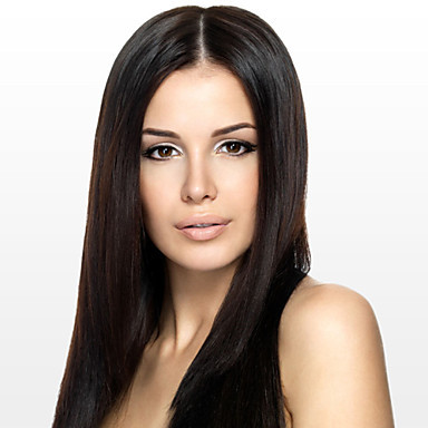 Women full lace wig 10inch~24inch India Hair Color(Black Brown #1 #1B #2 #4) Yaki Straight Hair(China (Mainland))