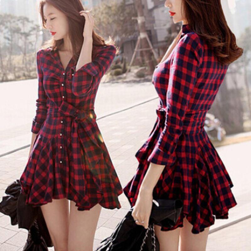 2015 Spring Summer Retro Long Sleeve Dress Women Red Plaid Lapel Shirt Mini Casual Dresses(China (Mainland))