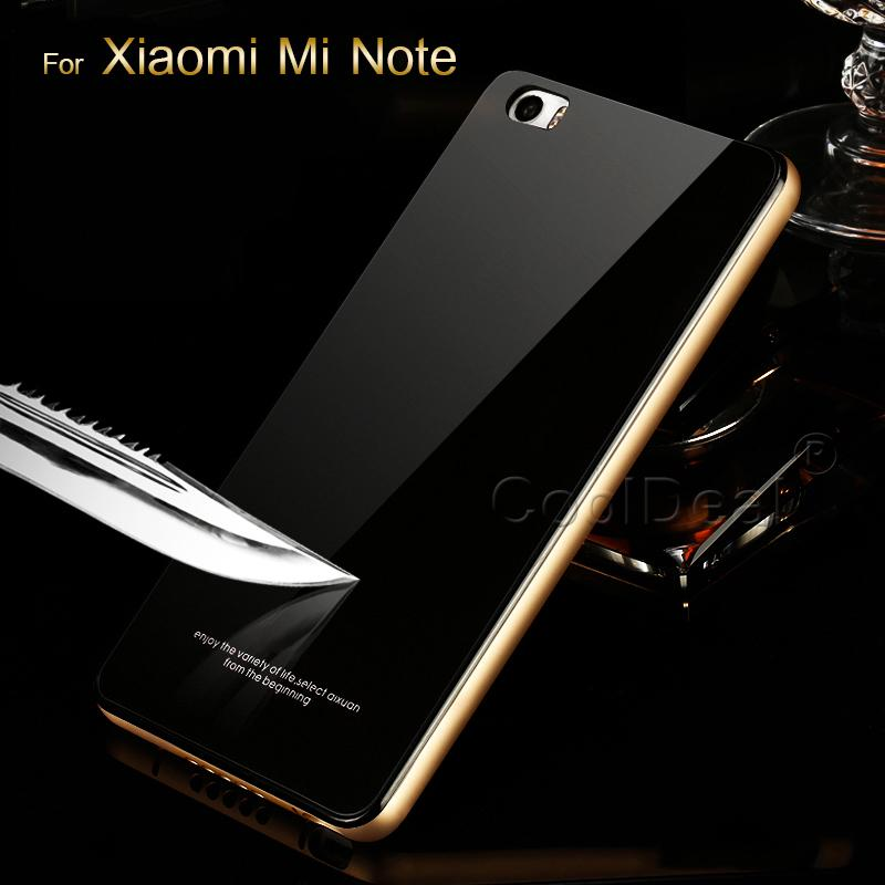 Mobile font b Phone b font Accessories Aluminum Metal Border Tempered Glass Back Cover For Xiaomi