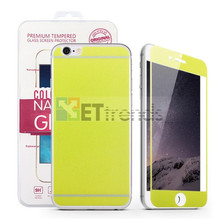 100pcs/lot Wholesale 0.3MM 2.5D Colorful Tempered Glass Protector for iPhone 6/6S front back color screen protector Free Ship