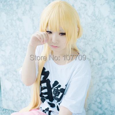 THE IDOLM@STER CINDERELLA GIRLS Anzu Futaba Halloween Christmas 80cm Pale Gold Long Hair Cos Anime Cosplay Wigs+Full Wig Cap - Purple wings store