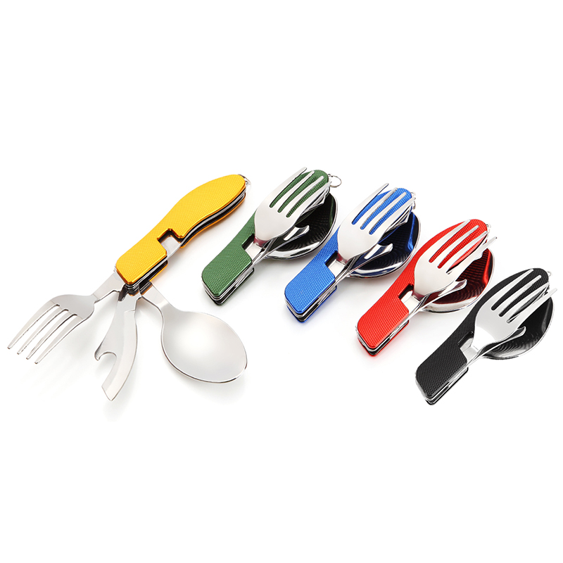 Portable Multi-Function 3 in 1 Stainless Steel Folding Spoon Fork Knife Tableware for Outdoor Camping Picnic Travel Knife