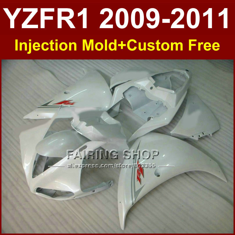 New white Injection mold Motorcycle parts YAMAHA fairings YZF-R1 09 10 11 12 YZF R1 2009 2010 2011 bodywork YZF1000 +7Gifts