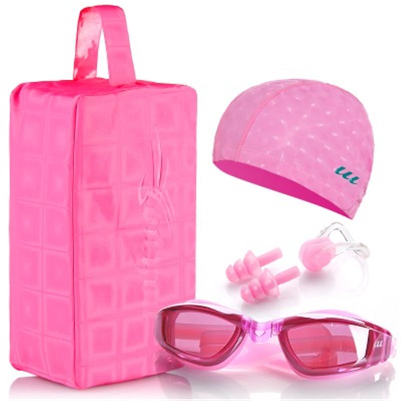 Waterproof swimming cap men and women swimming goggles Swim cap ear protection swimming hat Nose clip Earplugs(China (Mainland))