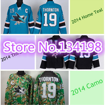 product San Jose Sharks Hockey Jerseys #19 Joe Thornton Jersey Home 2014 Teal Green White Black New Camo Joe Thornton Jerseys C Patch