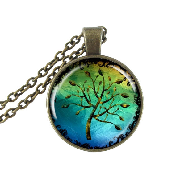 Tree of life pendant necklace photo glass cabochon bronze chain necklace fine jewelry accessories vintage choker women neckless(China (Mainland))