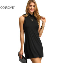COLROVE Ladies 2016 New Arrival Summer Style Sexy Dresses Ladies Casual Mock Neck Sleeveless Shift Mini Dress(China (Mainland))