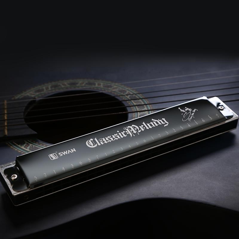 Swan 24 hole Tremolo Harmonica, brass sitting board, laser printing, Key of C-inHarmonica from ...