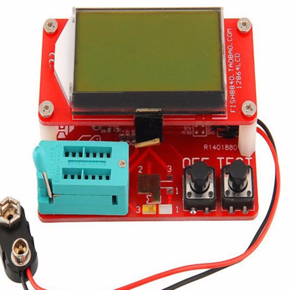 Mega328 Transistor Tester Diode Triode inductor Capacitance ESR Meter Digital led MOS NPN tester meter 12864 Graphic DC 9V