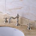 High grade Best Price Dual Handles Three Holes Basin Sink Mixer Faucet Brushed Nickel