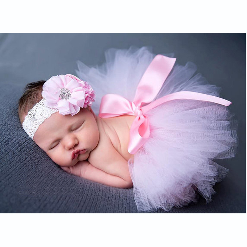 Baby Girl Pink Tutu with Crystal Headband Set Floral Infant Girl Tutu Skirt Newborn Photography Tutu Clothing Newborn Tutu Skirt(China (Mainland))