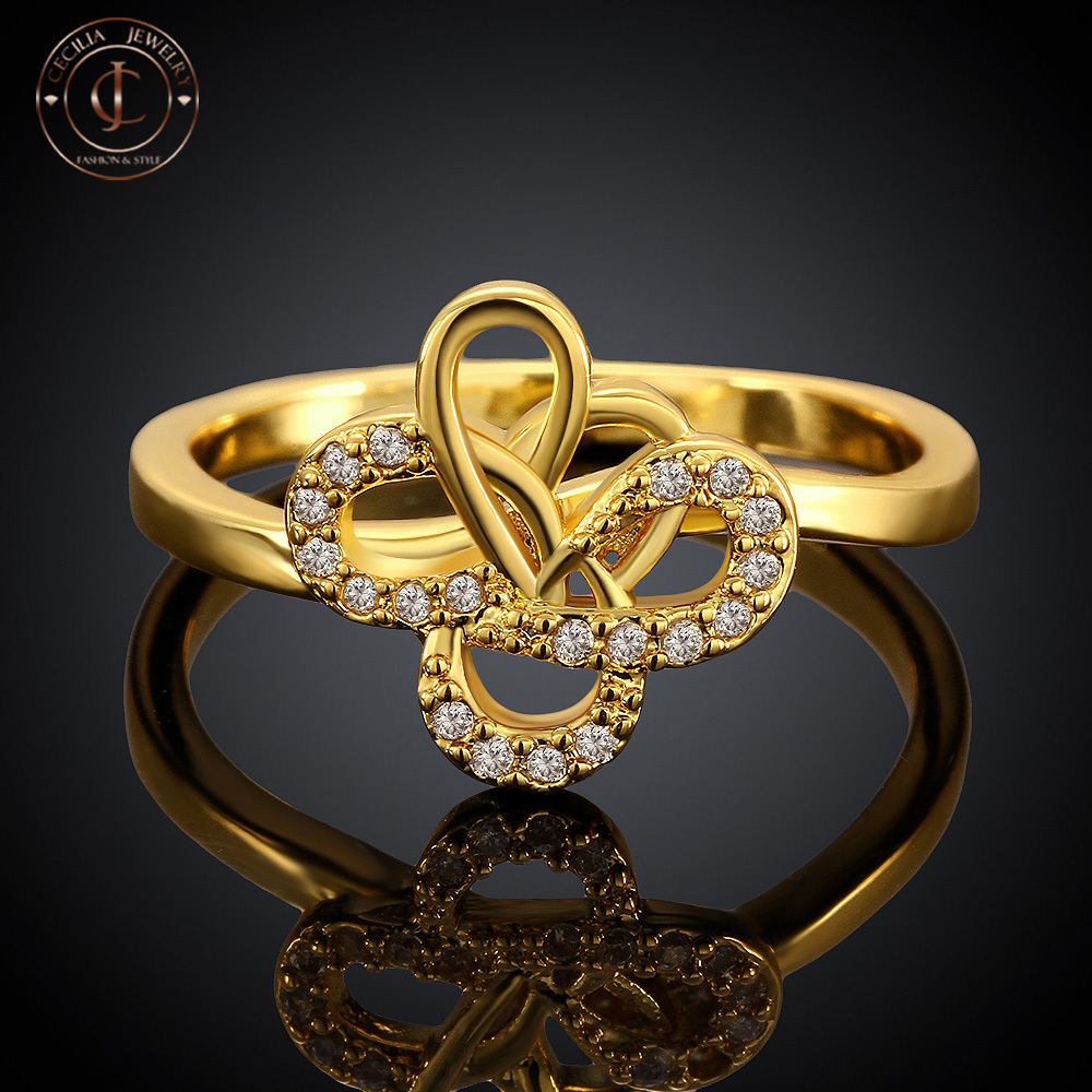 Exquisite Flower Rings of Classic Design Yellow Gold Plated(China (Mainland))