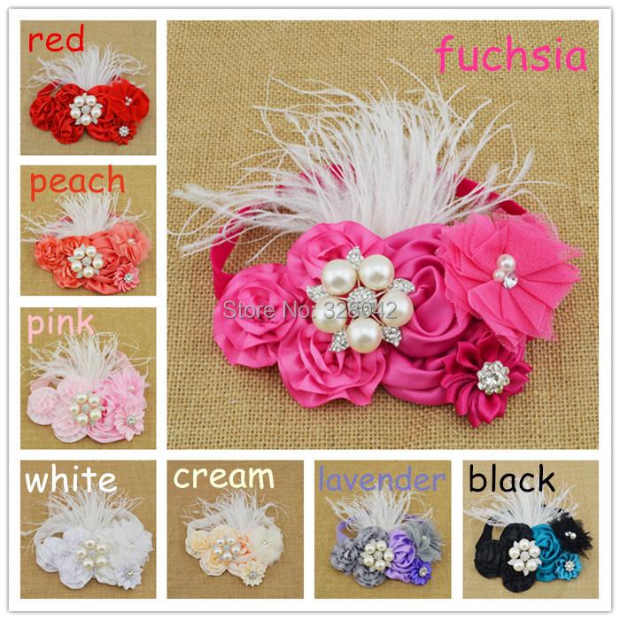 Trail order satin rosettes flower Headband tulle Flower feather Headband Infant Baby Girls Children hair accessories 16pcs/lot(China (Mainland))