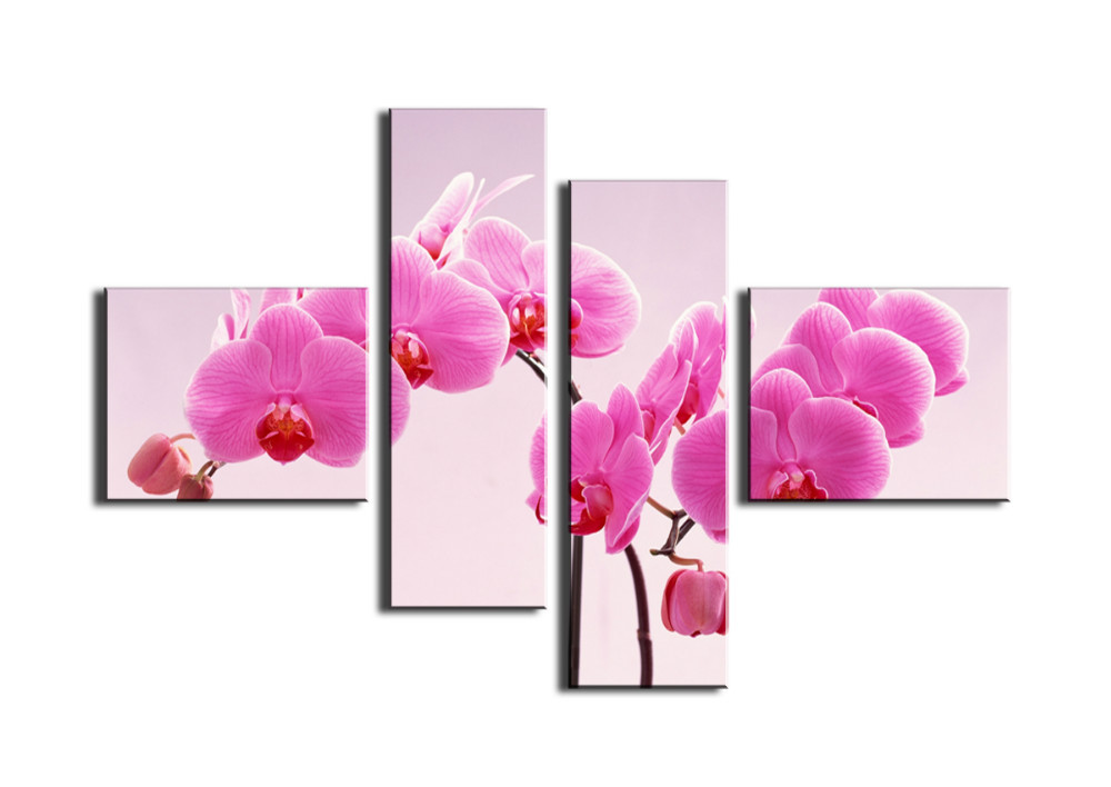 4 Piece Free Shipping Cheap Abstract Modern Wall Painting Purple Pink Flower Home Decorative Art Wall Pictures For Living Room