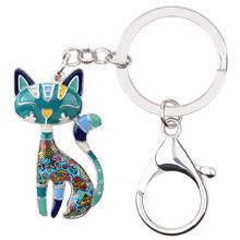 Bonsny esmalte de metal gato gatinho chaveiro feminino meninas bolsa pingente 2017 novo animal jóias chave do carro acessórios(China)