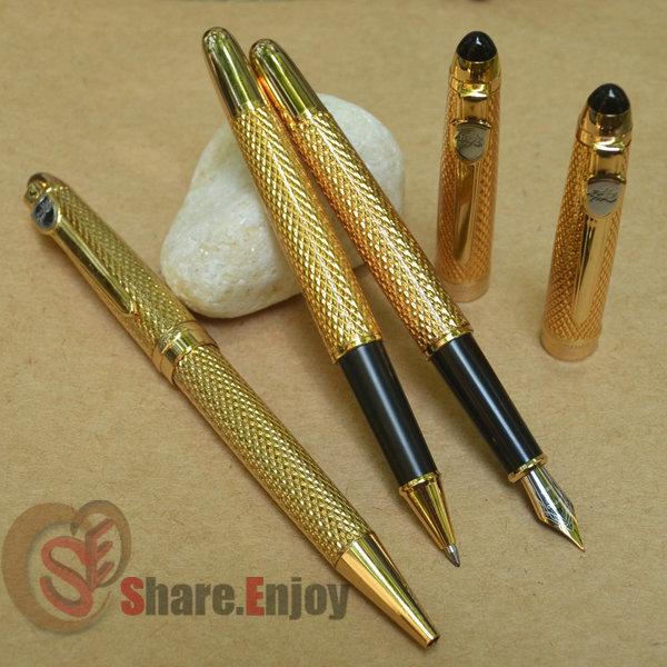 3 PCS JINHAO 163 GOLDEN MEDIUM NIB FOUNTAIN PEN + ROLLER BALL PEN+BALLPOINT PEN<br><br>Aliexpress