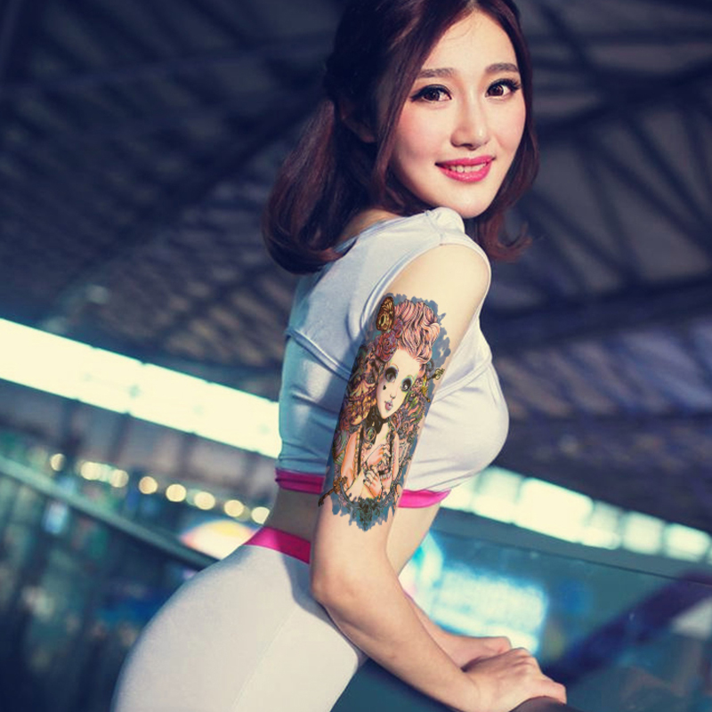 2PCS 3d Tatoo Body Art Beauty Makeup Rosy Dangerous Sexy Cute Girl Doll Tattoo Sleeve Waterproof Temporary Tattoo Stickers Hot(China (Mainland))