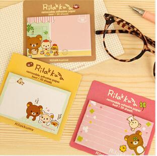 2pcs/lot Doll Rilakkuma Vintage Memo Pad Sticky Note Kawaii Pape Sticker Pads Free shipping(China (Mainland))