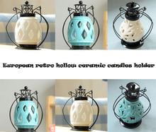 2015 New design White European retro hollow ceramic candle holder Candlestick wedding home patty decoration free shipping(China (Mainland))