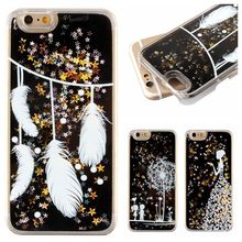Buy Fashion Feather Painted Transparent Black Dynamic Liquid Glitter Sand Quicksand Star Back Cover Case iphone 5 5G 5S SE for $2.95 in AliExpress store
