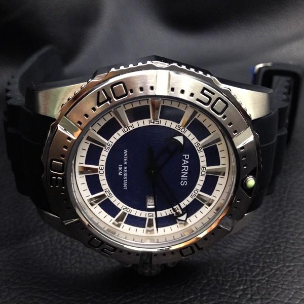 Мода 45 мм Парнис Корпус Из Нержавеющей Стали Водонепроницаемость 100 М мужская Кварцевые Часы Синий Циферблат