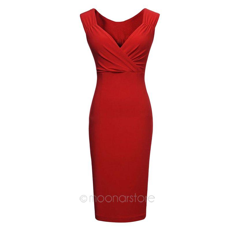 2015 Fashion Summer Women Sexy Club Party Dress Elegant Black/Red Lady Temperament Deep-V Slim Casual Sleeveless Dress USS5E3315(China (Mainland))