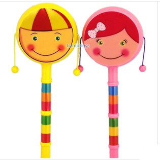 2014 new arrivle Cartoon smiley rattle double faced handbell traditional baby wave drum Baby Rattles & Mobiles(China (Mainland))