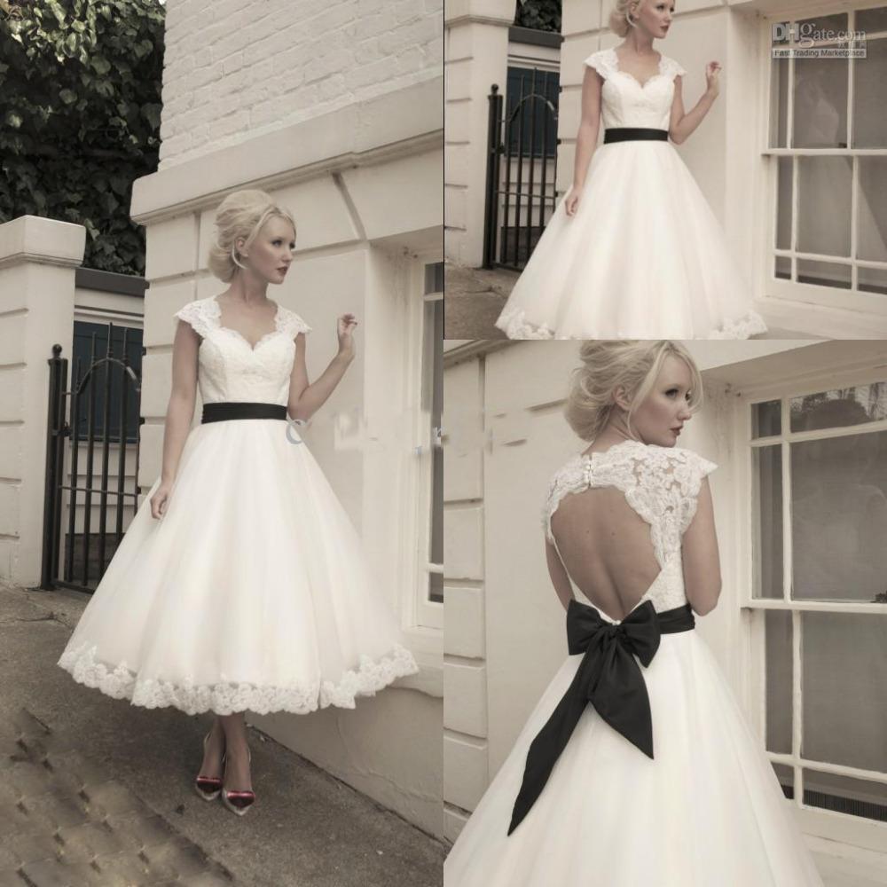 Lace Tea Length Wedding Dress With Sleeves Tea Length Wedding Dresses