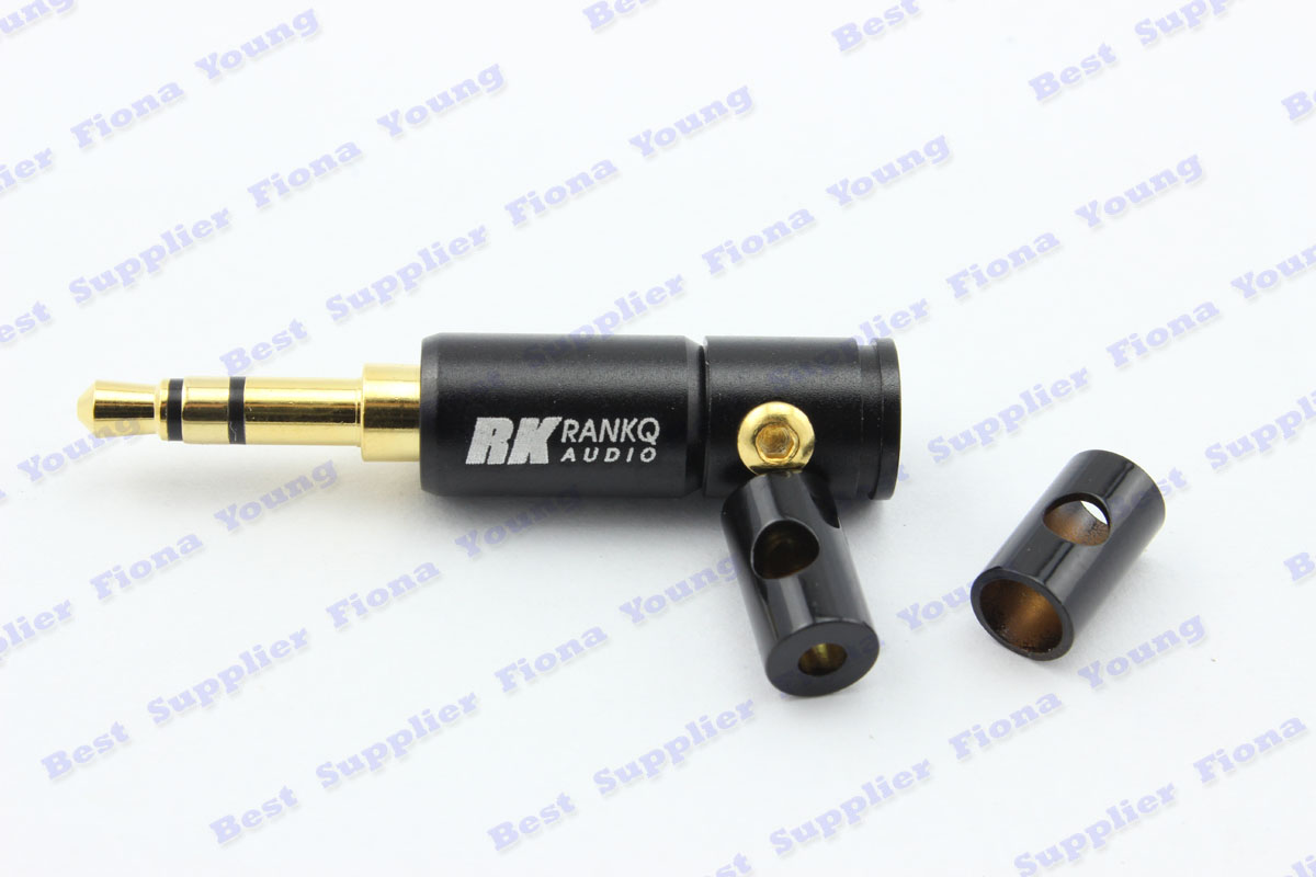 50 pcs\lot High Quality 3.5mm Ranko Black Plug solder Adapter 3 Tracks Stereo Audio Brass Connector 2 tail cuff Free Shipping<br><br>Aliexpress