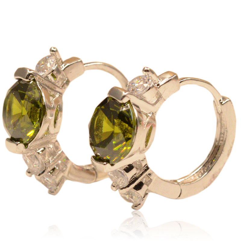 Lady gold filled small hoop earrings for Women 18k white Gold Platinum Green Crystal Jewelry Brinco aros Earrings E133(China (Mainland))