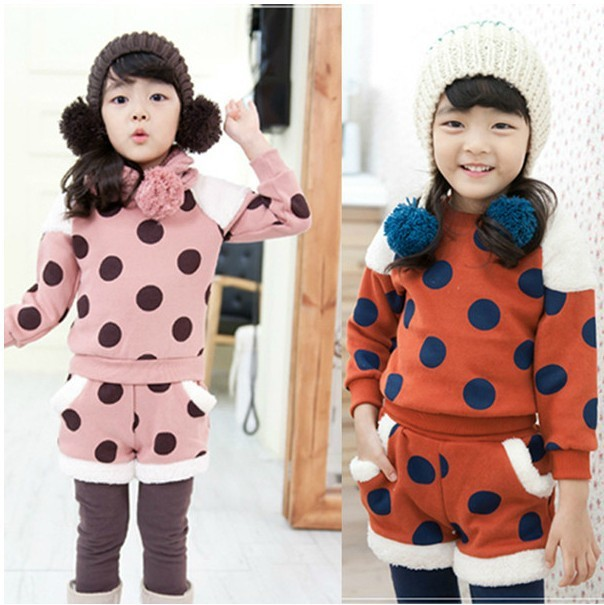 2013 fall and winter clothes children baby girls aged 2-3-4-5-6-7 thick fleece sweater Parure(China (Mainland))