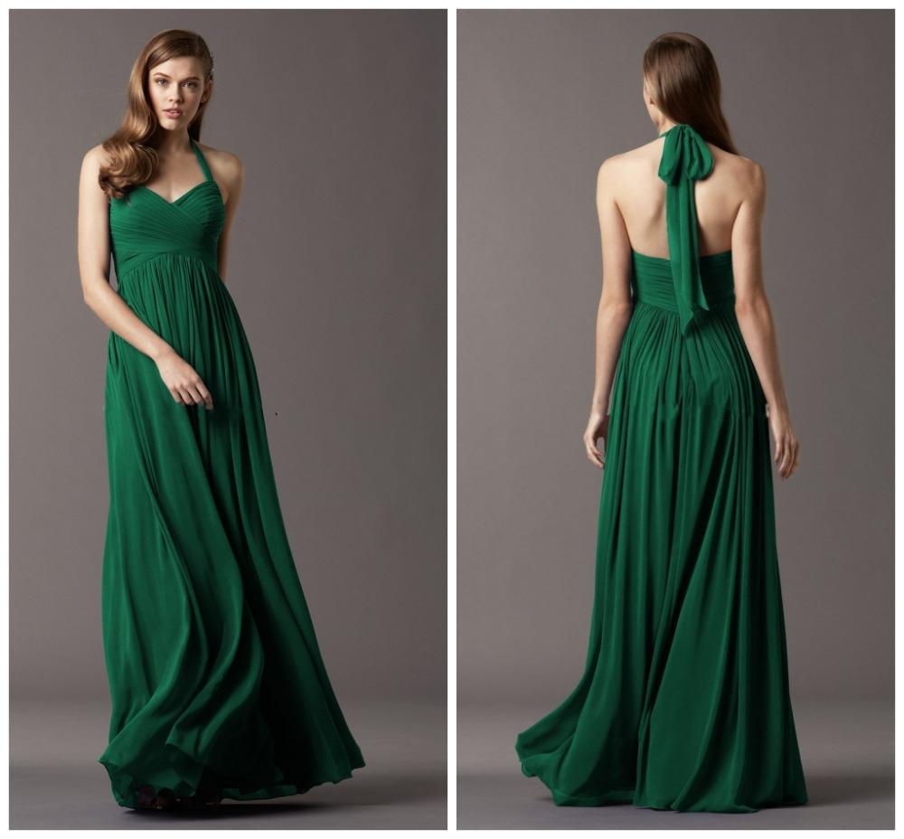 Emerald Green Bridesmaid Dress 2015 Vestido De Chiffon Halter Dresses Custom Made From China Free Shipping(China (Mainland))