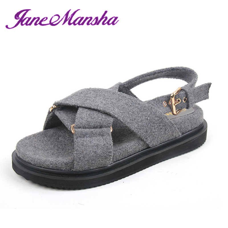 Hot Summer Shoes Sandals Women FASHION LEISURE Woolen Cloth Cross-Strap Buckle Shallow Flat Plain Solid Sandalias Mujer PWS059(China (Mainland))