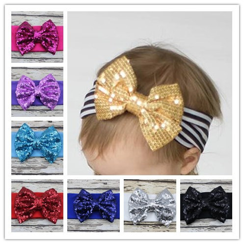 Sparkle Sequin Bow Headbands Sequin Bow Headwrap Headband Big Bow Headband For Baby Girls Children Hair Accessories 5pcs(China (Mainland))