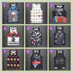 The new spring and summer 2015 smoke clown percentage expression black men's men's skull letter sleeveless vest(China (Mainland))