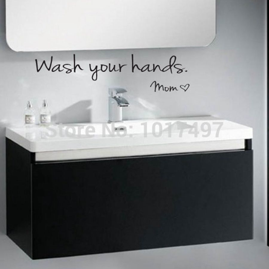 Bathroom wall art sayings - Bathroom Wall Stickers Wash Your Hands Love Mom Waterproof Art