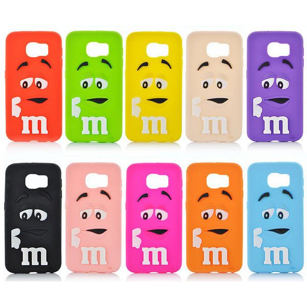 MM Case For Samsung Galaxy S6 3D Soft Silicon Rainbow Bean M&M Chocolate Case Cover for Samsung Galaxy S6 G9200 Drop Shipping(China (Mainland))