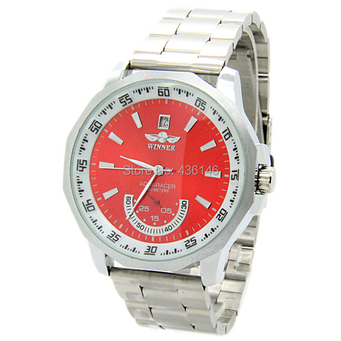 WINNER relogio full steel personality red dial men self wind automatic watch sports male clock mechanical watches SW048 - The East Watch shop store