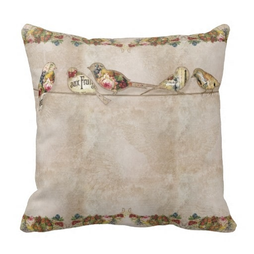 """Good Case French Market Modern Vintage Birds On A Wire Throw Pillow Case (Size: 20"""" by 20"""") Free Shipping(China (Mainland))"""