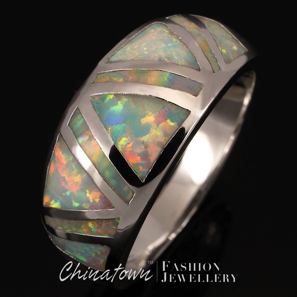 1 PCS White Fire Opal Silver Jewelry Womens and Mens Ring US Size 7/8/9 UK Size O/Q/S DORM0041W(China (Mainland))